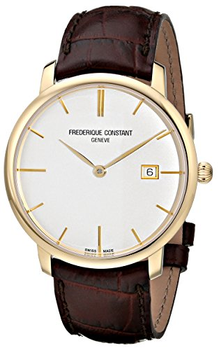 Frederique Constant Men's FC306V4S5 Slim Line Analog Display Swiss Automatic Brown Watch image
