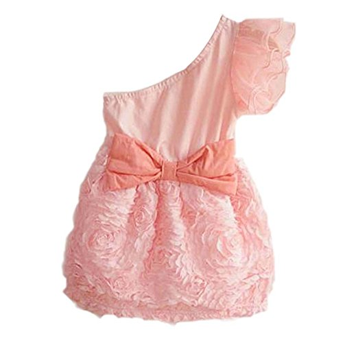 Weixinbuy Kids Girls Lace Bow-Knot One Shoulder Dance Dress Pink 5T