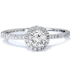 H SI1 GIA Certified .69CT Diamond Pave Halo Engagement Ring 18K White Gold Size 6.5 from Pompeii3 Inc.