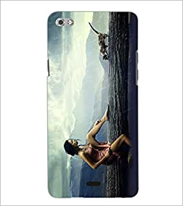 PRINTSWAG CAT AND GIRL Designer Back Cover Case for MICROMAX CANVAS SLIVER 5 Q450