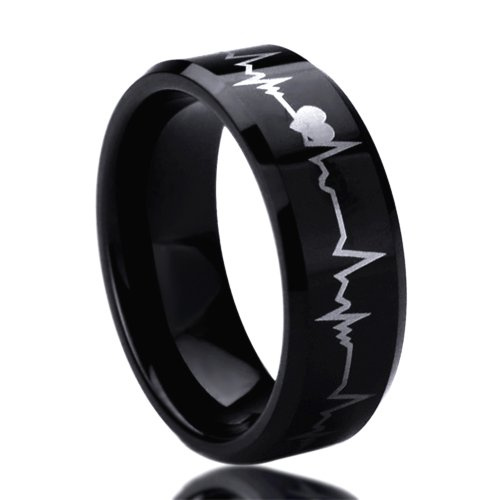 Unisex Men'S 8Mm Titanium Comfort Fit Wedding Band Ring Laser Engraved Forever Love Heartbeat Black Ring (8 To 14) - Size: 9.5