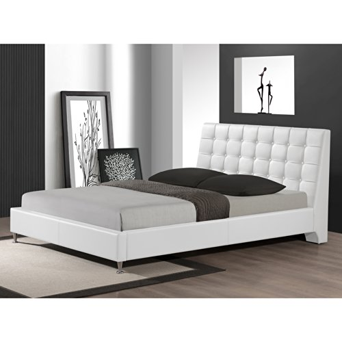 QUEEN-WHITE Zeller Button Tufted Modern Bed with Upholstered Headboard ...