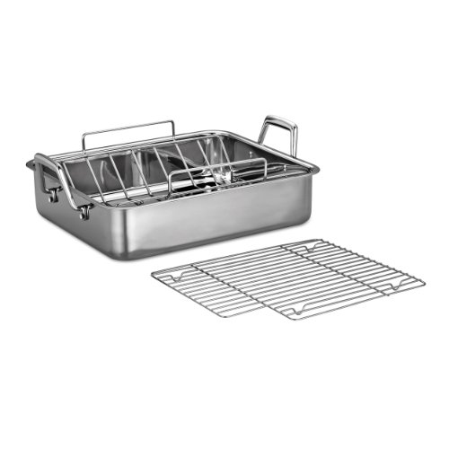 Tramontina 80203/006DS Gourmet Prima 16.5-Inch Deep Rectangular Roasting Pan with Basting Grill and V-Rack, Large, Stainless Steel