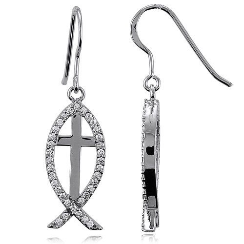 Sterling Silver ICHTHUS Christian Fish w/Cross Earrings, Holiday Christmas Gift
