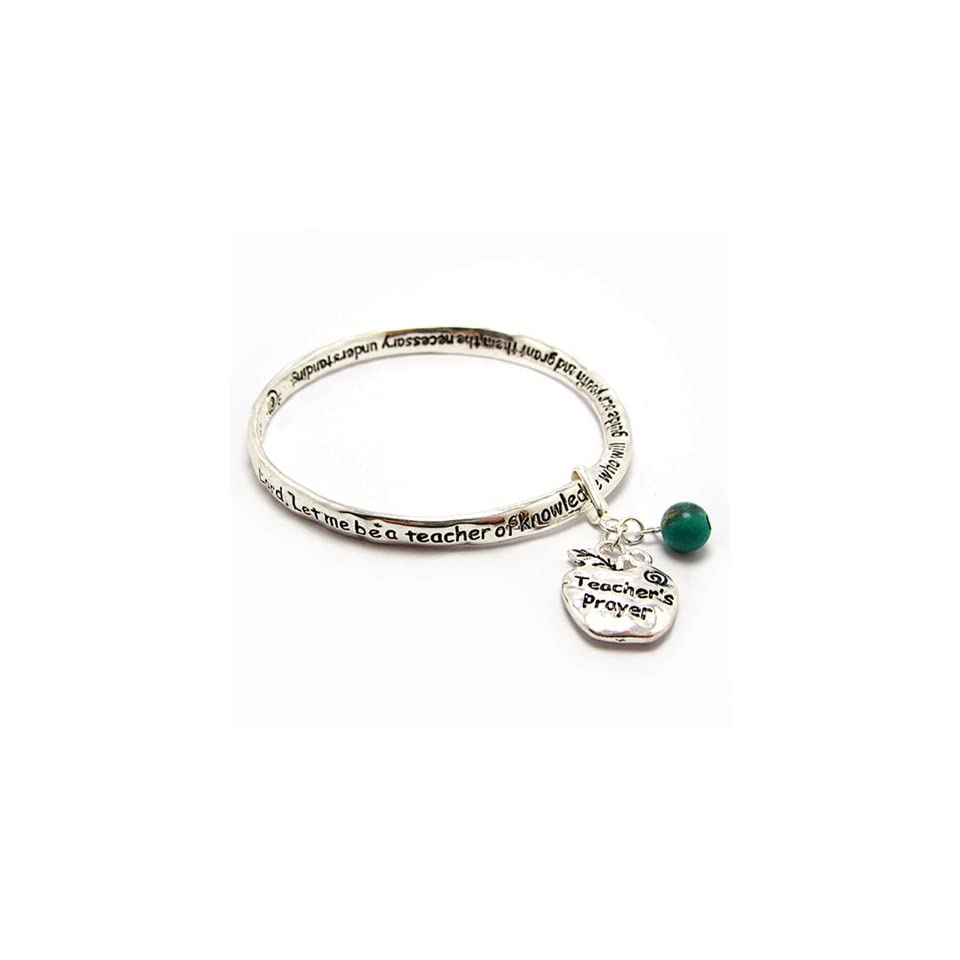 Inspirational Engraved Bangle Bracelet Silver tone Metal with Apple Shaped Teachers Prayer Charm and Green Stone Bead
