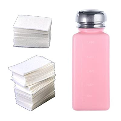So Beauty 1pcs New Empty Pump Dispenser Bottle And 400 X Lint Free Nail Art Wipes Acrylic Gel Tips For Nail Art Polish Remover