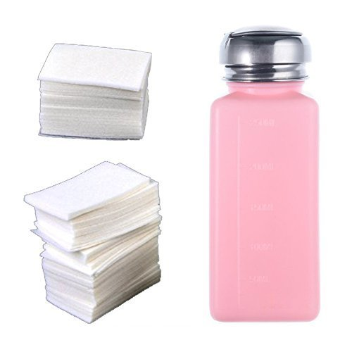 So Beauty 1pcs New Empty Pump Dispenser Bottle And 400 X Lint Free Nail Art Wipes Acrylic Gel Tips For Nail Art Polish Remover (Acetone Polish Remover Pump compare prices)
