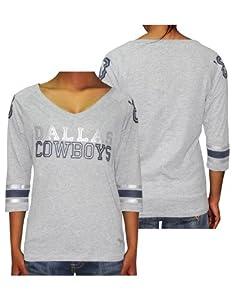 Ladies NFL Dallas Cowboys #60 3 4 Sleeve Tee by Pink Victoria