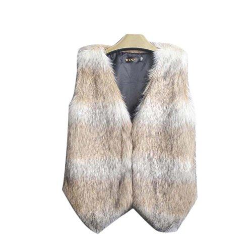 ipretty Women Faux Fur Vest Environmentally Waistcoat Synthetic Fox Wool Gilet
