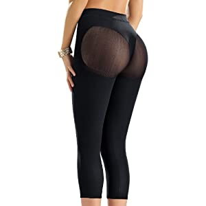 Leonisa Invisible Leggings Shaper-All Black, XS-S