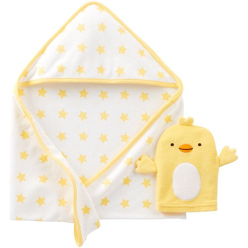 Carters Duck Baby Bath Towel & Carters Baby Bath Mit Yellow Ducky Set - 1