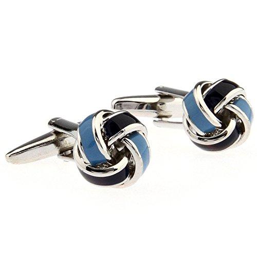Simple-Ball-Knot-Shape-Mens-Spherical-Copper-Cufflinks-Blue