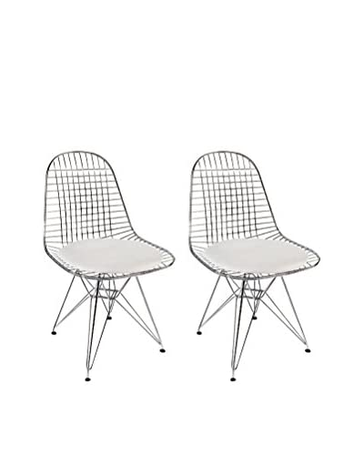 Manhattan Living Set of 2 Eiffel Dining Chairs, White