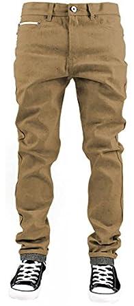 Kayden K Selvedge Tape Roll Up Tapered Fit Men's Raw Denim Jeans (30Wx32L, Khaki)