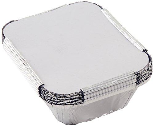 Tala - Set di 10 vaschette in alluminio con coperchio, 15 x 12 x 5 cm, colore argentato