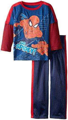 Marvel Boys' 2 Piece Spiderman Tricot Pant Set, Blue, 6