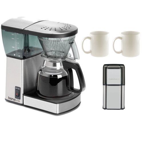 Bonavita 8-Cup Coffee Brewer with Glass Carafe BV1800 + Coffee Grinder + 2-Pieces Ceramic Coffee Mug
