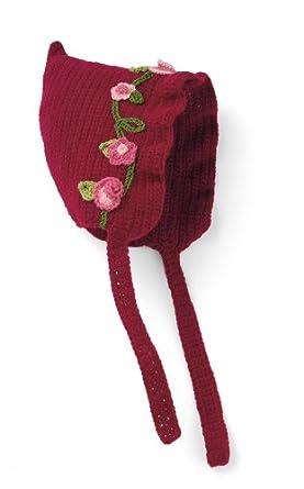 San Diego Hat Company Floral Cotton Knit Bonnet Red, 0-6 Months