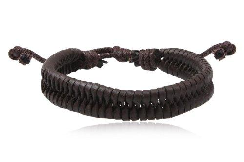 Fashion Brown Leather Wrap Cuff Rasta Plait Bracelet Bangle Men's Jewelry