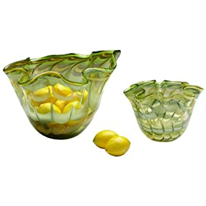 Small Francisco Green and Yellow Glass Bowl