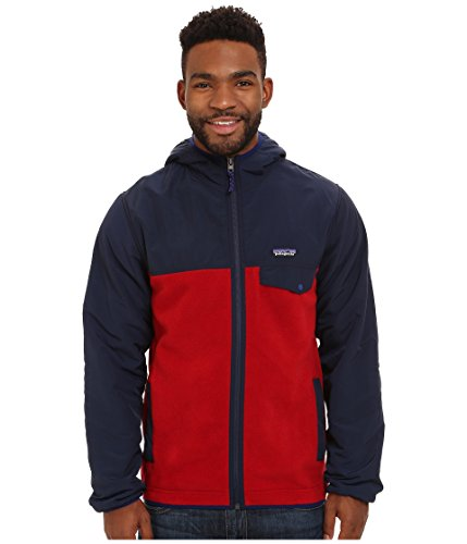Patagonia Shelled Synchilla Snap-T Fleece Hoodie - Men's Classic Red/Navy Blue, XL