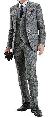 (ル・オルメ) Le ormeウール100%ツイード素材スタイリッシュフィット 2ツボタンスリーピーススーツ