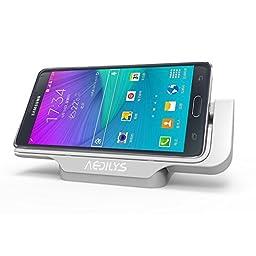 AEDILYS® Desktop Cradle Docking Station Dock for Samsung Galaxy Note4 N9100(White)