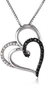 Sterling Silver Black and White Diamond (1/4 cttw) Double Heart Pendant Necklace, 18