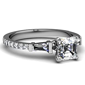 1.15 Ct Asscher Cut Diamond Mesmeric Three Stone Engagement Ring Pave Set VVS2-H 14K