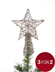Rattan Effect Star Shaped Christmas Tree Topper