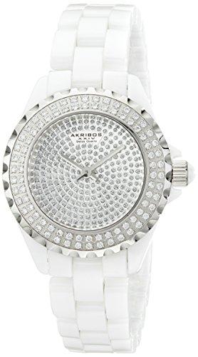 Akribos XXIV Women's AKR457WT Lady Diamond Collection Ceramic Swiss Quartz Watch