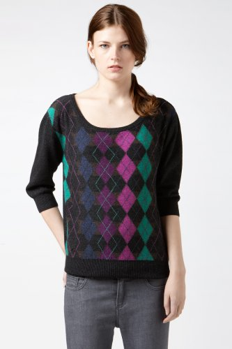3/4 Sleeve Boatneck Reverse Argyle Sweater