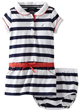 Nautica Baby-girls Infant Polo Dress, Medium Navy, 12 Months