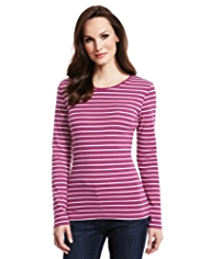 M&S Collection Pure Cotton Striped Top with StayNEW™