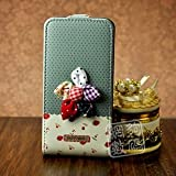 Green and Black Polka Dot Pattern Magnetic Leather Flip Case with Red Strawberry and Striped Bow Ribbon Design For Apple iPhone 4S / 4 (AT&T, Verizon, Sprint)