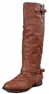 Breckelles Outlaw-81 Women's Red Zipper Tall Riding Boots Tan 5.5