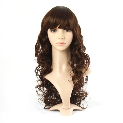 Taobaopit Charming Long Wavy Costume Wig Golden Brown Hair Ladies Synthetic Replacement Wigs Hairpieces