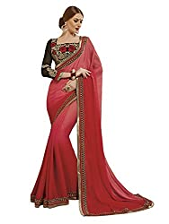 Shopeezo Daily Wear Red Colored Printed Saree/Sari