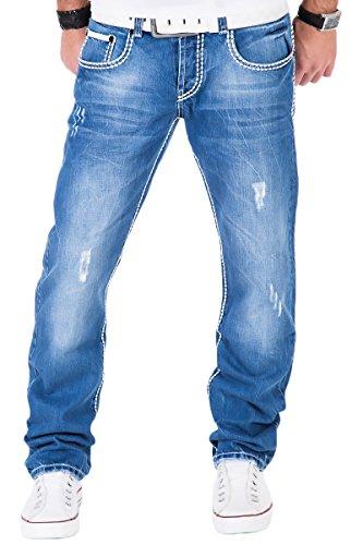 Tazzio Herren Jeans dicke Naht Clubwear ice blue Hose Cargo Style Hellblau / W29 - W38 / L32 & L34 / TZ-5047 (W32/L34)