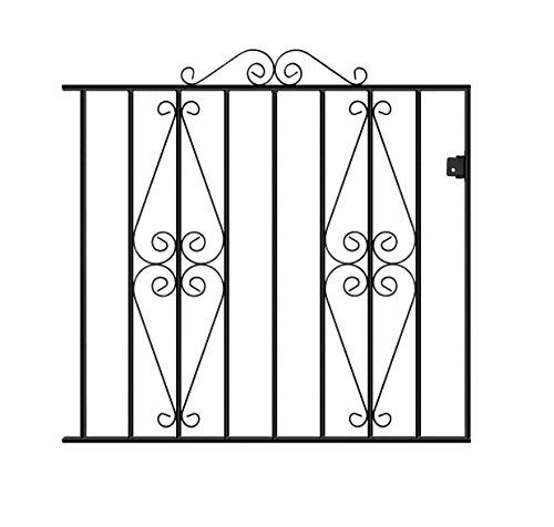 STIRLING05 Scroll Garden Gates 1067mm (3ft 6in) GAP X 914mm H Wrought Iron  Metal