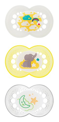 MAM Day & Night Silicone Orthodontic Pacifiers Set 6+, Pack of 3