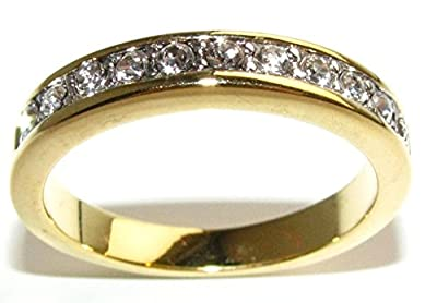 Ah! Jewellery. Stunning Heavily Gold Electroplated Half Eternity Band. Lab Created Flawless Diamonds. Total Weight Of 3.0gr. Total Width Of 2.5mm.