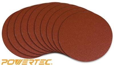 POWERTEC 110260 6-Inch PSA 100 Grit Aluminum Oxide Sanding Disc, Self Stick, 10-Pack from POWERTEC