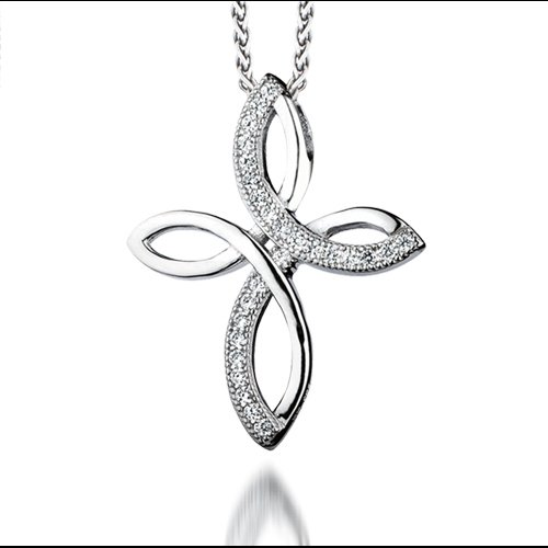 The REAL Effect - Rhodium Plated Silver - CZ Cross Pendant Necklace - Curved crossover - 16/18