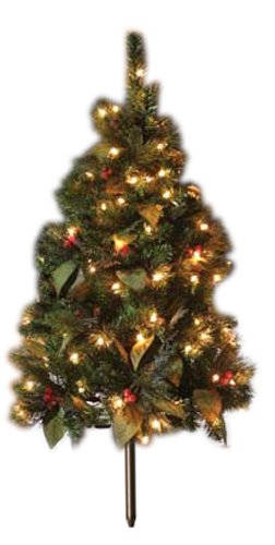GKI Bethlehem Lighting Pre Lit 4 Foot PE PVC Stake Style Christmas Tree With