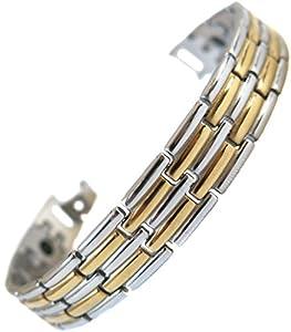 Bracelet femme homme acier plaque or argent 15 aimant magnetique 2000g