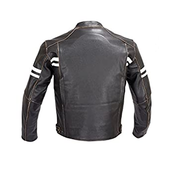 Men Motorcycle Vintage Hand Buffed Leather Armor Jacket Black MBJ031 (L)
