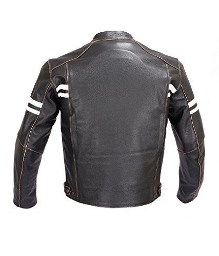 Men Motorcycle Vintage Hand Buffed Leather Armor Jacket Black MBJ031 (L) 2