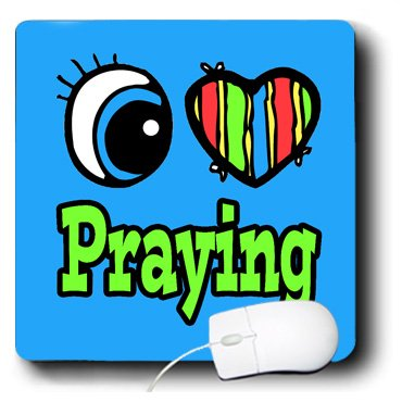 Dooni Designs Eye Heart I Love Designs - Bright Eye Heart I Love Praying - MousePad (mp_106430_1)