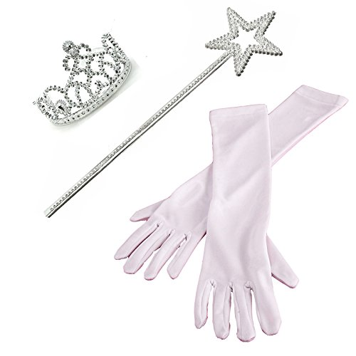 3 Piece Set: White Princess Gloves with Silver Tiara,Wand and Drawstring Bag (3 Set Of Draws compare prices)